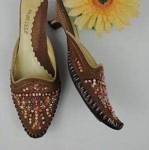 Matisse Shakira Brown Beaded Mules Kitten Heel 6.5